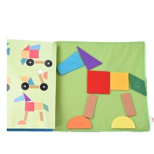 Infant Cloth Book Cartoon Tangram Matching Pattern Baby Soft Activity Crinkle Cloth Books Toys 1pc baby educational learning toys infant cloth book cartoon animal pattern baby soft activity crinkle cloth books 1