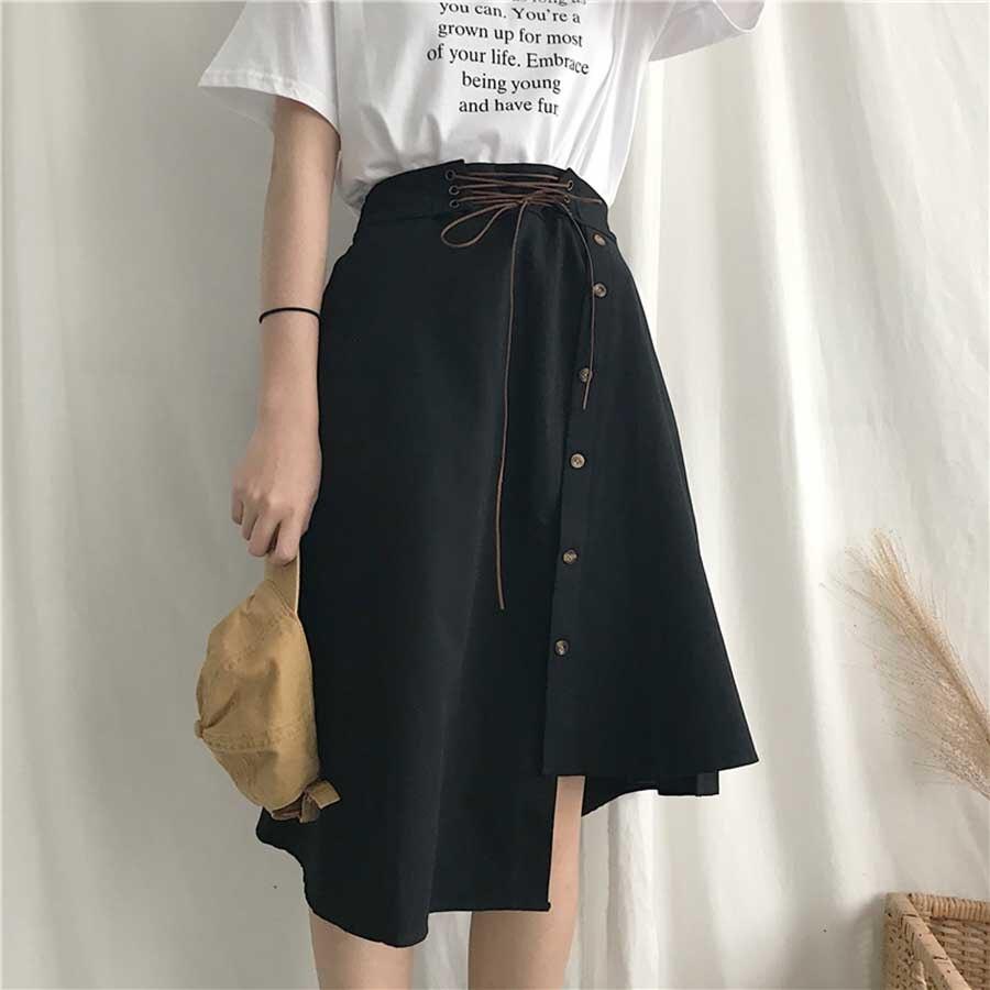 16257bd10b Detail Feedback Questions about Casual Wild High Waist Skirt Women Long  Korean Fashion Vintage Skirt Asymmetrical Autumn Streetwear Harajuku Skirts  Womens ...