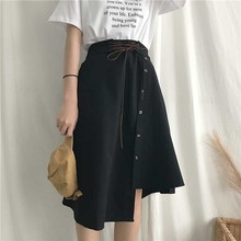 Casual Wild High Waist Skirt Women Long Korean Fashion Vintage Skirt Asymmetrical Autumn Streetwear Harajuku Skirts Womens 5H165