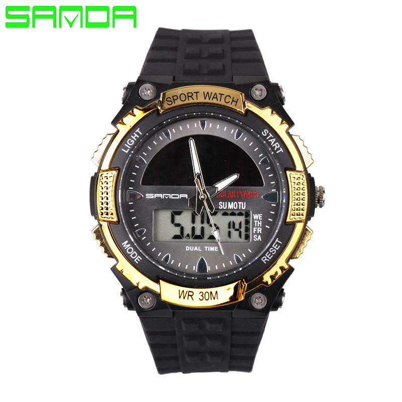SANDA Men Watch LED Digital Quartz Watch Fashion Casual Multifunction Solar Energy Sports Watches eachine e52 2mp wide angle wifi fpv with altitude hold foldable arm rc quadcopter drone toys rtf red blue vs jjrc h37 mini e50