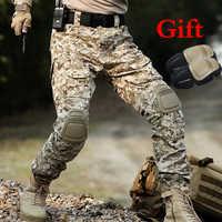 Na zewnątrz mężczyzna Ghillie suit spodnie taktyczne polowanie kamuflaż spodnie Cargo spodnie armii szkolenia bojowy ochraniacze na kolana sport spodnie do wędrówek pieszych