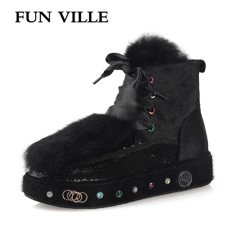 FUN VILLE winter New Fashion Women Ankle boots Horse hair Rabbit Hair Snow Boots Black Warm