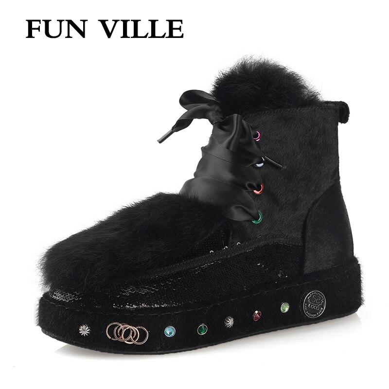 FUN VILLE hiver nouvelle mode femmes bottines cheval cheveux lapin cheveux neige bottes noir chaud laine femmes appartements plate-forme chaussures
