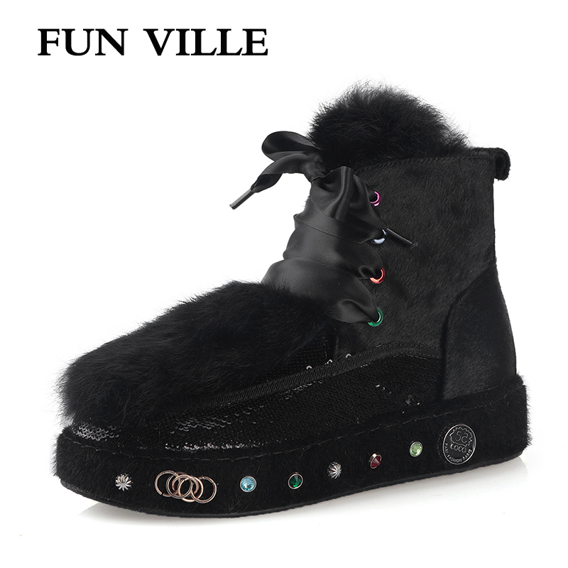 FUN VILLE winter New Fashion Women Ankle boots Horse hair Rabbit Hair Snow Boots Black Warm Wool Women Flats Platform shoes 2018 autumn and winter new leather women s cotton shoes korean rabbit hair fashion snow boots in the tube warm women s boots