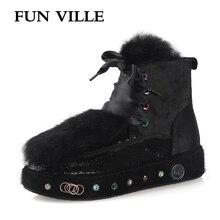 FUN VILLE winter New Fashion Women Ankle boots Horse hair Rabbit Hair Snow Boots Black Warm Wool Flats Platform shoes