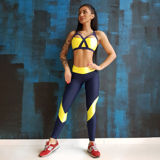 04f3de7f0b 2017 summer Padded Sports Bra Bright Yellow Tracksuits RUN leggings Fitness  sport suit women ropa deportiva mujer gym Yoga Sets