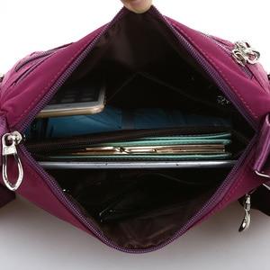 Image 5 - ファッション 6 ジッパーダイヤモンド格子柄の女性のメッセンジャーバッグの高品質防水ナイロンマルチポケットクロスボディバッグ