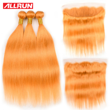 Allrun Pre-Colored Orange Human Hair Weave with Frontal Remy 2/3 Bundles With 13*4 Lace Closure Deals Brazilian Straight Hair