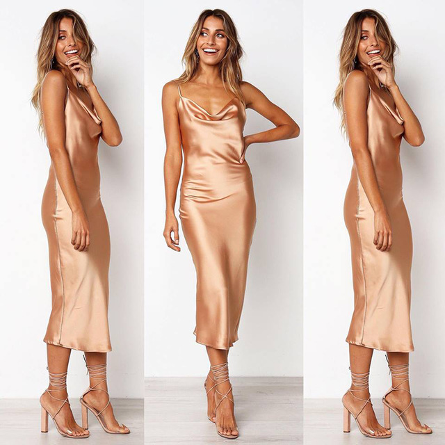 Casual Women Dress Summer 2019 Sleeveless Spaghetti Strap Sexy Party Dress Backless Slim Pencil Dress Thin Beach Dress Vestidos