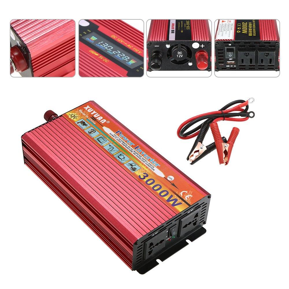 3000W Veicular Car Power Inverter WATT Peak Car LED Power Inverter DC 24V to AC 110V USB Ports Charger Dual Converter Charger 100w car dc 12v to ac 110v power inverter w usb power port black