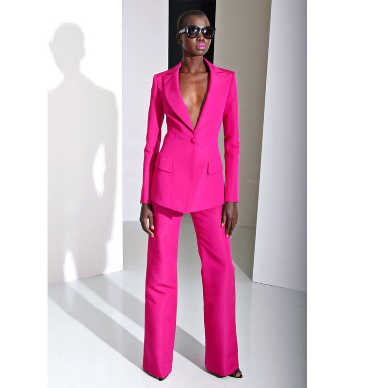 Fuchsia Straight Trousers Suit Womens Business Suits Work Formal Officer Uniforms Ladies Casual Fashion Tuxedos B139