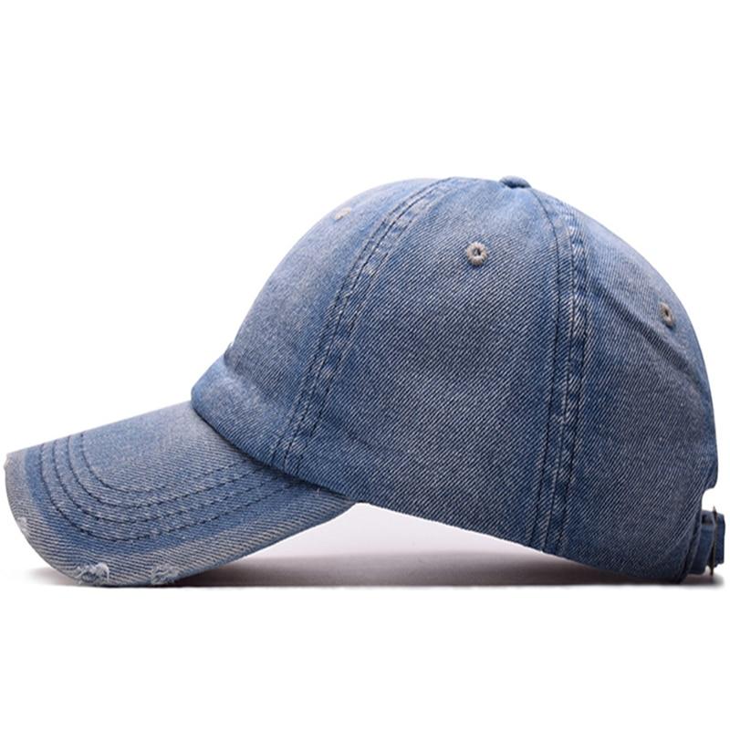 3aac58ec371f8 Pump Queen Denim Solid Blue Jeans Baseball Cap Cowboy Dad Hats Curved Ball  Cap Embroidery Vintage Hat Summer Outdoor Sport Caps
