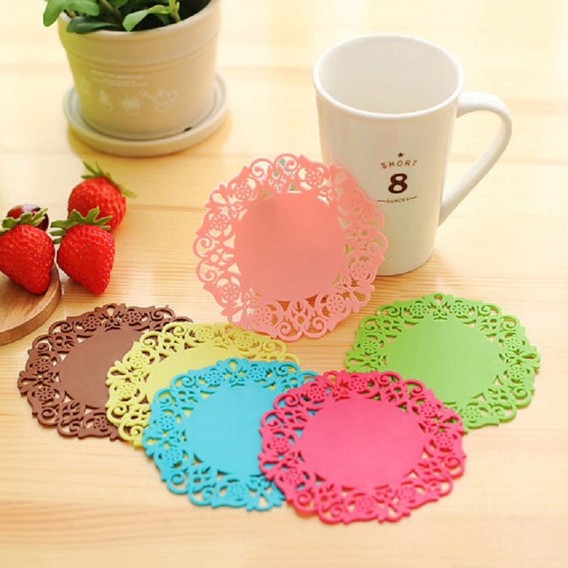 6pcs Novelty Silicone Coasters New Cup Cushion Holder