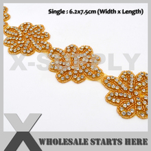 Emas Berlian Imitasi Trim dengan Halaman Pengantin TRIM, Mewah Rhinestone Kristal Applique Trim untuk Pengantin Pernikahan Ikat Pinggang
