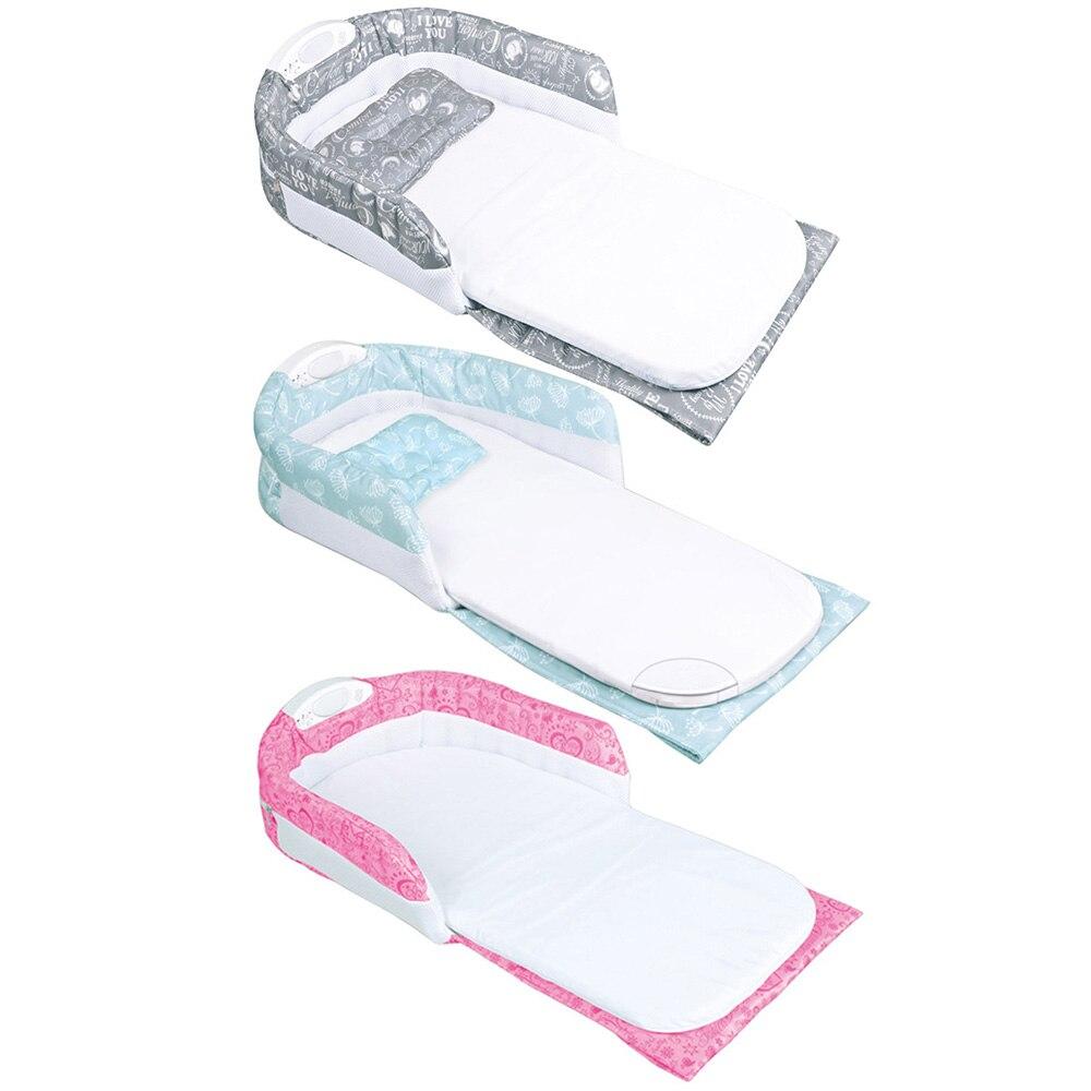 Portable Baby Crib Multi-function Both Shoulders Mummy Bag Baby Bed Travel Baby Bed+ Nightligh Detachable Newborns Baby Crib J74