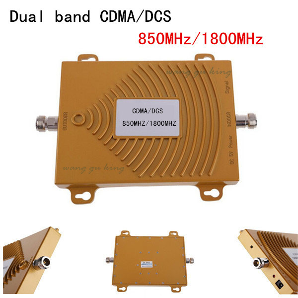 New Gold CDMA 850 GSM 1800 Cell Phone Signal Booster UMTS 850MHz DCS 1800MHz Mobile Signal Repeater 65dB Gain Dual Amplifier