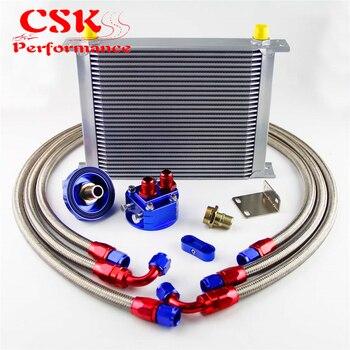 30 Row 248mm AN8 Universal Engine Transmission Oil Cooler British Type + Filter Adapter Kit Black/Blue