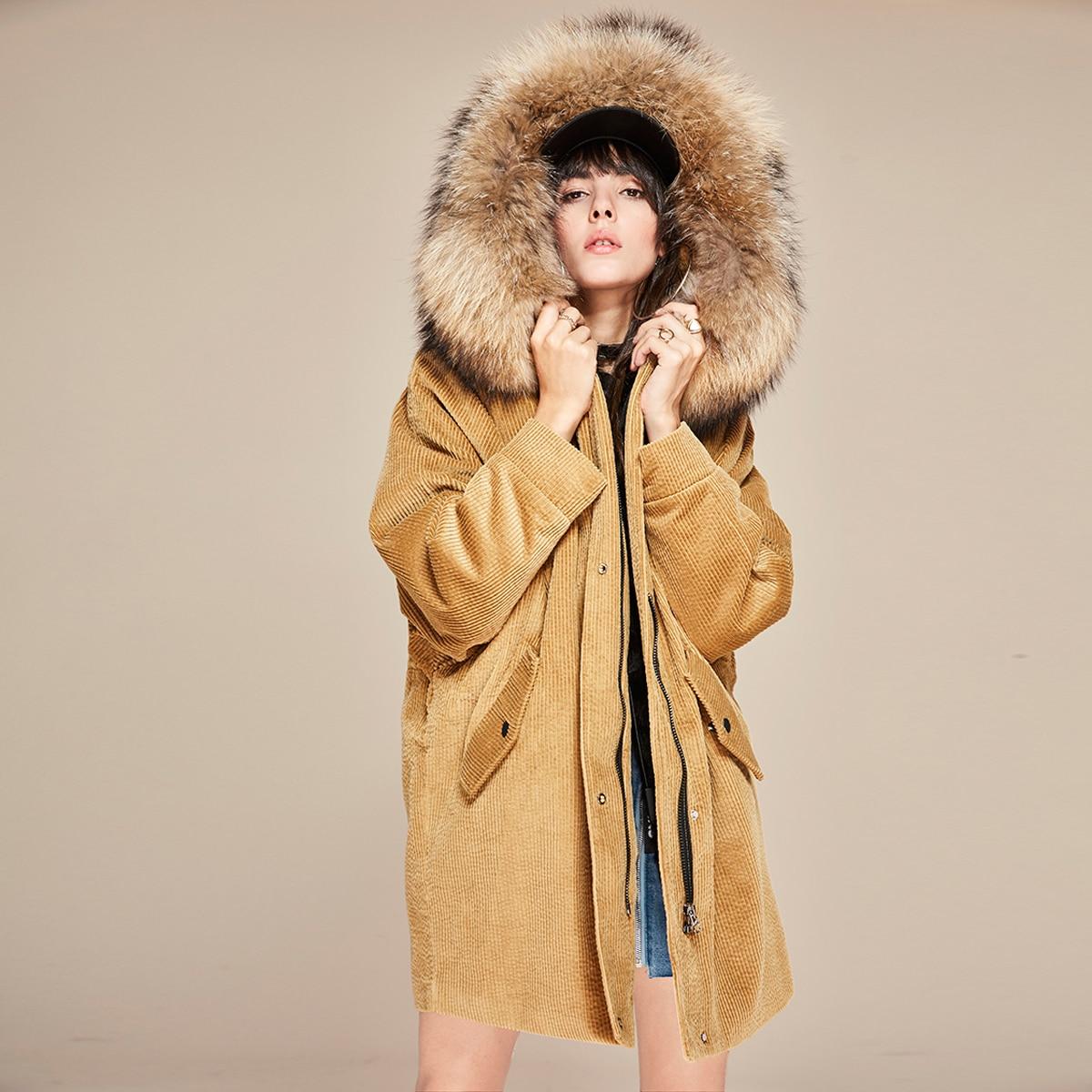 Camel detachable lining parka coat