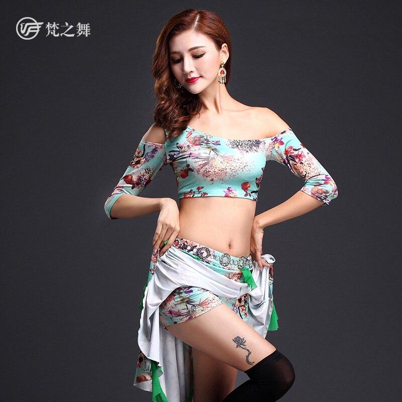 T-5101 Новое поступление 2 шт./3 шт. с цветочным рисунком из молочного шелка высокие эластичные гонконгских Лидер продаж костюмы танец живота