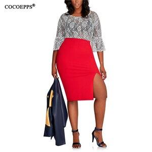 Image 5 - COCOEPPS 2019 Fashion New Brief High Waist Skirt Plus Size bodycon Pencil Skirt Women blue Sexy Slim Elegant Work OL Skirts 6XL