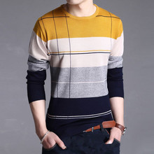 Discount new men 's sweater men' s hit the color hit the first round of loose casual knitting sweater men clothing