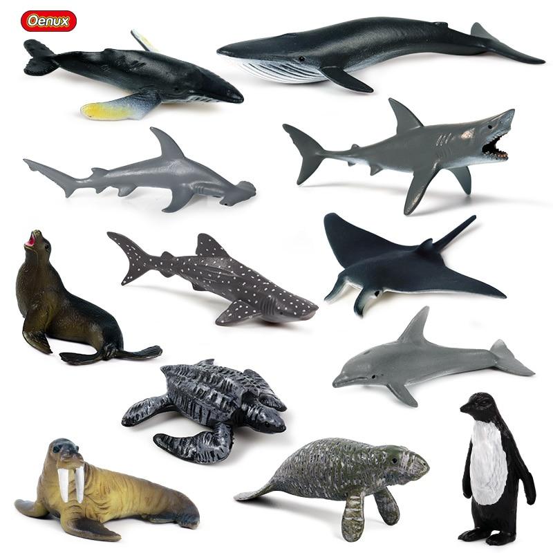 Oenux 12pcs Mini Sea Life Animals Shark Whale Penguin Model Original Miniature Marine Ocean Animal Action Figures Toy Kids Gift