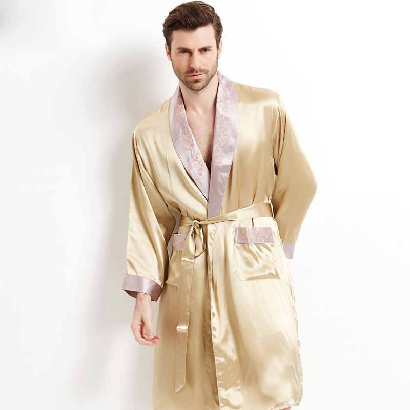 Genuine Silk Sleeping Robes Male Long-Sleeve Bathrobe Shorts Two-Piece Sets Sexy Kimono Silkworm Silk Men's Sleepwear 2508