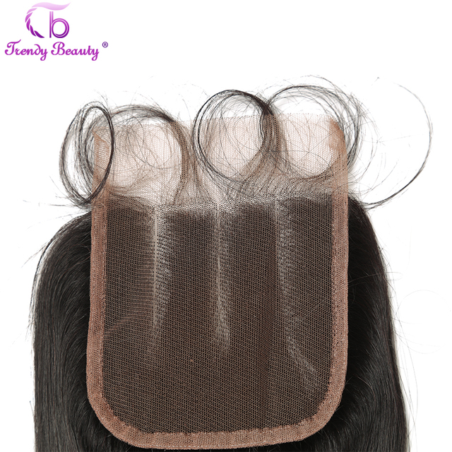 Trendy Beauty Hair Brazilian Straight 4×4 Three Part Swiss Lace Closure With Baby Hair 100% Human Remy-Hair Free Shipping