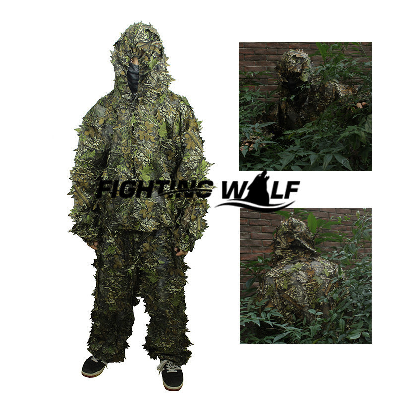 ФОТО 3D Leaf Camouflage Tactical Military Airsoft Paintball Hunting Camo Bionic Disguise Sniper Archery Ghillie Suit Disguise Uniform