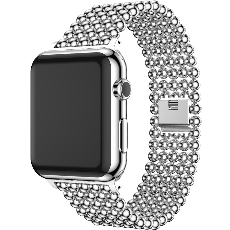 Band For Apple Watch 38mm 40mm 42mm 44mm Fashion Beads Style Stainless Steel Strap For Iwatch 1 2 3 4 5 Watchband Bracelet Belt