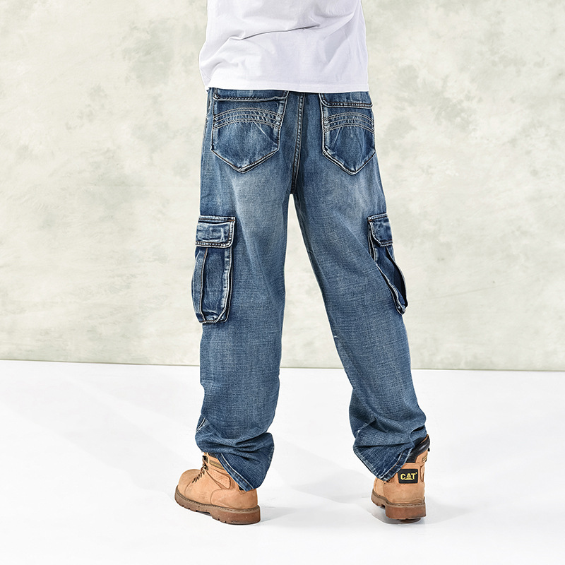 Image 3 - Fashion Men's Baggy Hip Hop Jeans  2019 Plus Size 30 46 Multi Pockets Skateboard Cargo Jeans For Men Tactical Denim Joggers-in Jeans from Men's Clothing
