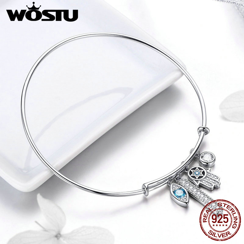 WOSTU 2019 European 100% 925 Sterling Silver Hamsa Hand Eye Bracelets For Women Bangles Wedding Engagement Silver Jewelry FIB128WOSTU 2019 European 100% 925 Sterling Silver Hamsa Hand Eye Bracelets For Women Bangles Wedding Engagement Silver Jewelry FIB128