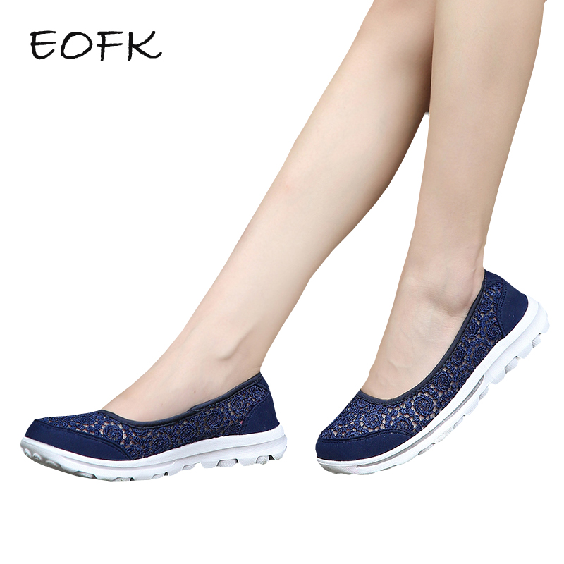 EOFK Summer Women Flat Shoes Woman Casual Air Mesh Breathable Lightweight Shoes Slip On Womens Shoes zapatos mujer women shoes casual shoes lightweight summer beach flats shoes women loafers breathable air mesh zapatos mujer tenis feminino u1