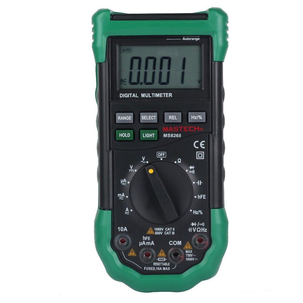 MASTECH ms8268 Авто Диапазон Цифровой мультиметр AC/DC Напряжение Тесты er Ом Частотный измеритель емкости диода Тесты