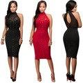 Womens Sexy Slim Black Sleeveless Halter Mesh Rivets Knee Length Pencil Dress Clubwear Clothes