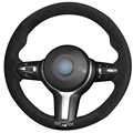 XuJi Black Suede Car Steering Wheel Cover for BMW F33 428i 2015 F30 320d 328i 330i 2016 M3 M4 2014-2016
