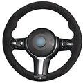Xuji preto de camurça tampa da roda de direcção do carro para bmw 320d f33 428i 2015 f30 328i 330i 2016 m3 m4 2014-2016