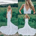 V Neck Lace Wedding Dresses Mermaid Floor Length Chapel Train robe de mariee bridal dresses 2016
