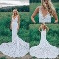 V Cuello de Encaje de La Boda Vestidos de Sirena Palabra de Longitud Capilla de Tren robe de mariee vestidos de novia 2016