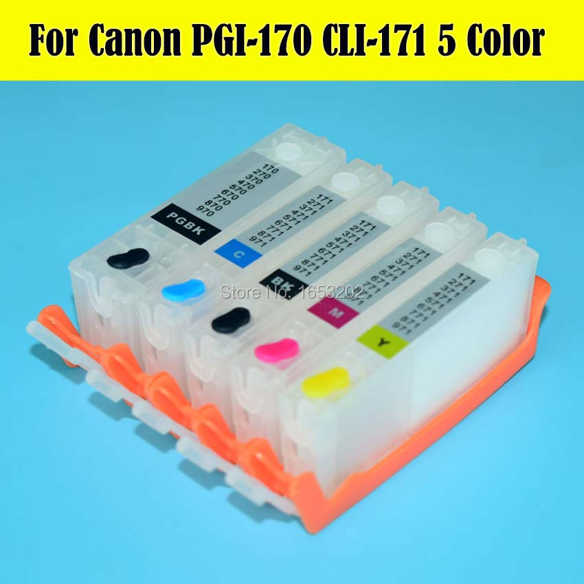5 Color 170 171 Ink Cartridge For Canon PIXMA MG5710 MG6810 Printer With PGI170 CLI171 INK Cartridge Chip