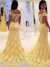 Sleeveless Mermaid Yellow Lace Appliques Long Prom Dresses Formal Gown party Evening dress