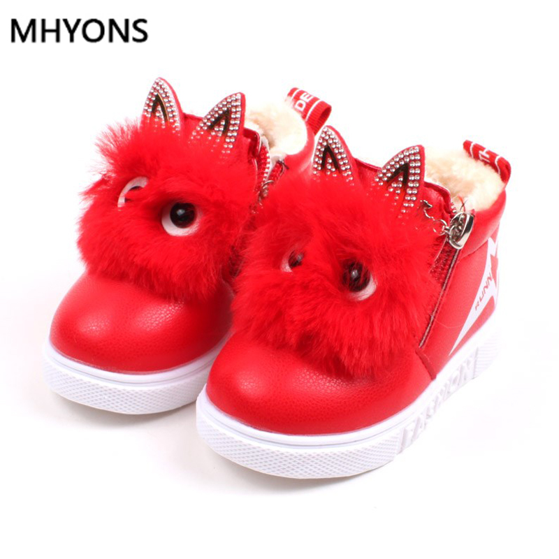 MHYONS Winter New Children Snow Boots Big Kids Leather Boots Warm Shoes With Fur Princess Baby Girls Ankle Boots