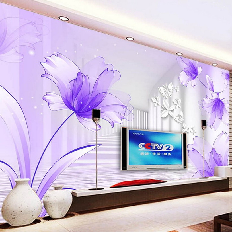 Purple Flowers White Corridor Wall Mural Custom 3D Photo Wallpaper For Walls Modern Minimalist Creative Bedding Room TV Backdrop