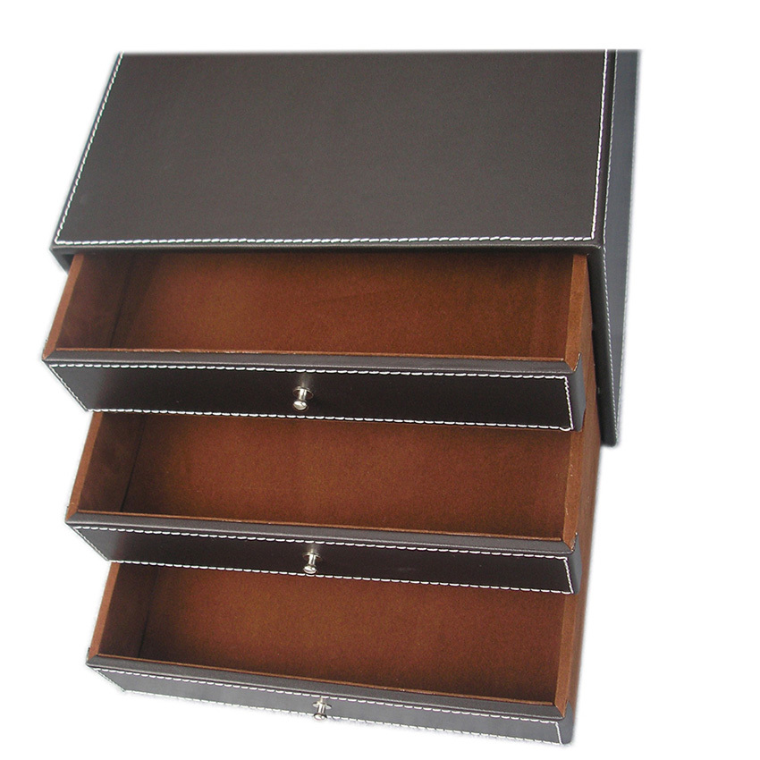Image 3 - 3 Layers Office PU Leather Desk Filing Cabinet File Document Holder Desk Organizer Storage Box 3 Drawers-in Storage Drawers from Home & Garden