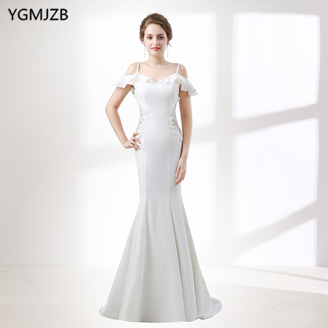 31073fa3612 White Wedding Dresses Long 2018 Mermaid Sweetheart Spaghetti Strap Lace Plus  Size Wedding Gown Bridal Gown Vestido De Noiva