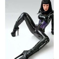 Fashion Latex Catsuits Women Autumn Winter Sexy Black Rubber Fetish Skinny Bodysuits For Adult Plus Size Hot Sale