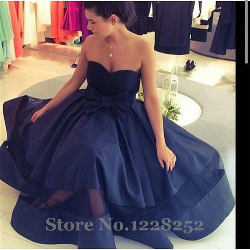 8f37ca9f208 Navy Blue Evening Prom Dresses A line Tea Length Sweetheart Bow Sash  Fashion Evening Party Gowns Arabic Cheap-in Evening Dresses from Weddings    Events on ...