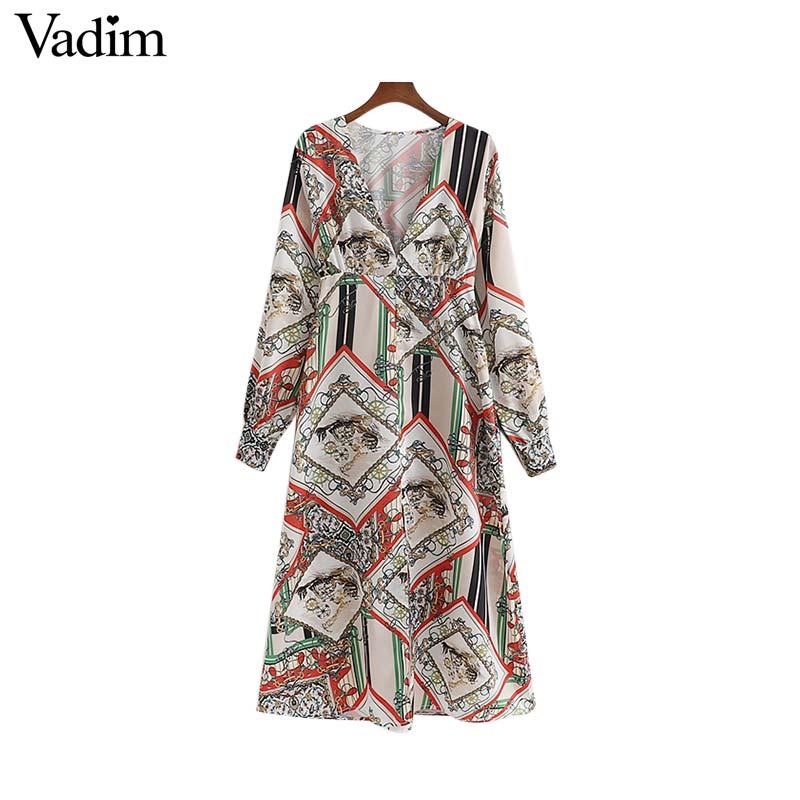 Women's Clothing Vadim Women Elegant Chain Print Maxi Dress Deep V Neck Split Female Long Sleeve Side Zipper Fly Ankle Length Dresses Qb347 Volume Large