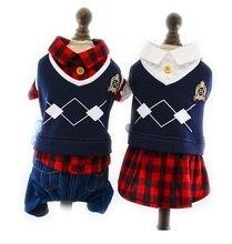 Dog Jumpsuit Autumn Pet Dress Coat Suit British Campus Style Plaid Clothing XS S M L XL