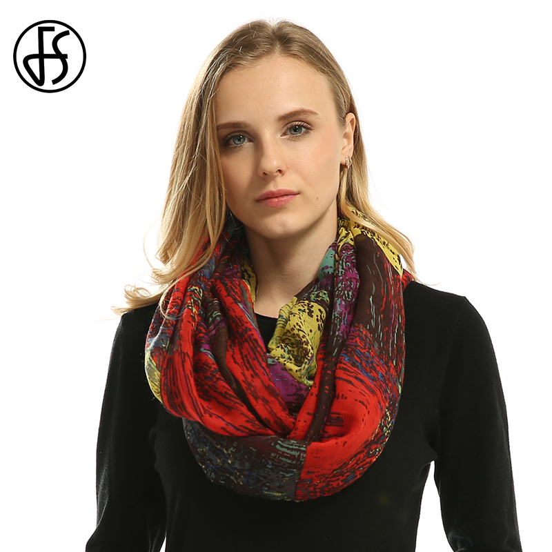 FS Winter Scarves For Women Voile Infinity Collar Ring Neck Scarves Scarf Multicolor Pattern Print Feminine Luxury Brand Echarpe